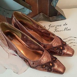 Pierre Dumas Beaded Copper Color Heels